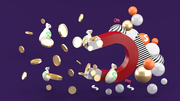 Magnet saugt geld zwischen bunten kugeln auf einem lila raum