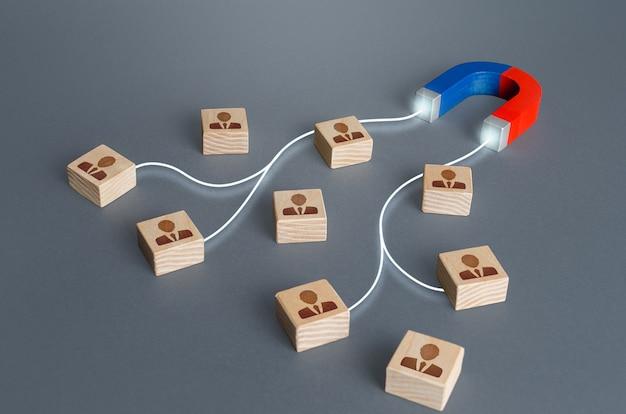Magnet zieht magnetisierungen an, die bestimmte mitarbeiterkandidaten blockieren. einstellung von qualifiziertem fachpersonal