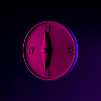 Magnetisches kompass-neon-symbol. 3d-rendering-ui-ux-schnittstellenelement. dunkel leuchtendes symbol.