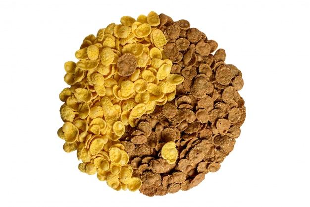 Mais und buchweizen blättert yin yang ab