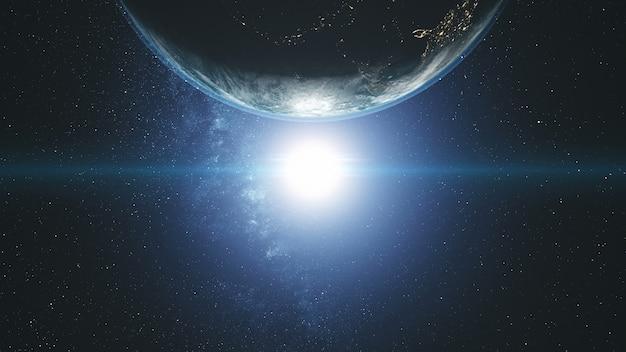 Majestätische erdumlaufbahn sonnenlicht glow galaxy drehen