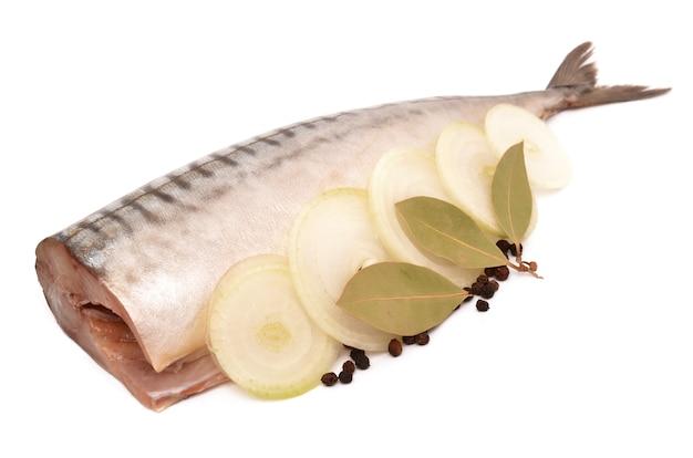 Makrele auf einer weißen oberfläche