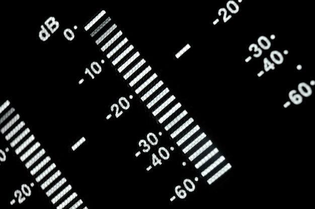 Makro-shot-anzeige des broadcast-video-players, equalizer