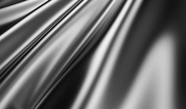 Makroansicht auf gewelltem schwarzem seidenstoff in 3d-rendering