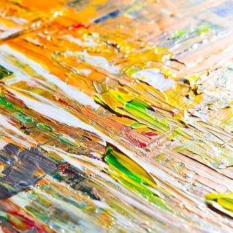 Makroaufnahme von gelben pinselstrichen. ausdrucksstarker abstrakter hintergrund