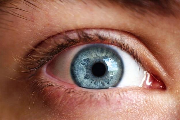Makrobild eines menschlichen auges in der grauen farbe der iris. selektiver fokus