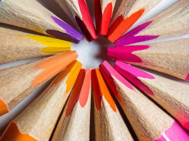Makrofotografie von buntstiften auf weißem hintergrund. zurück zum schulkonzept