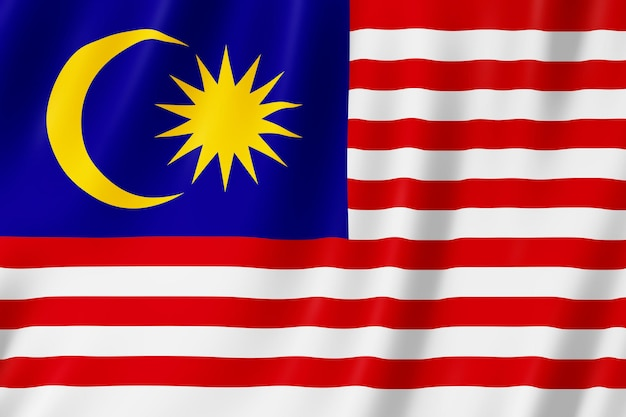 Malaysia-flagge weht im wind.