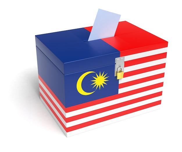 Malaysische flagge wahlurne. isolierter weißer hintergrund. 3d-rendering.