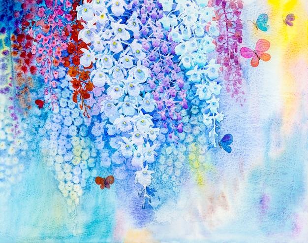 Malen der weißen farbe der orchideenblume und der schmetterlinge fliegen
