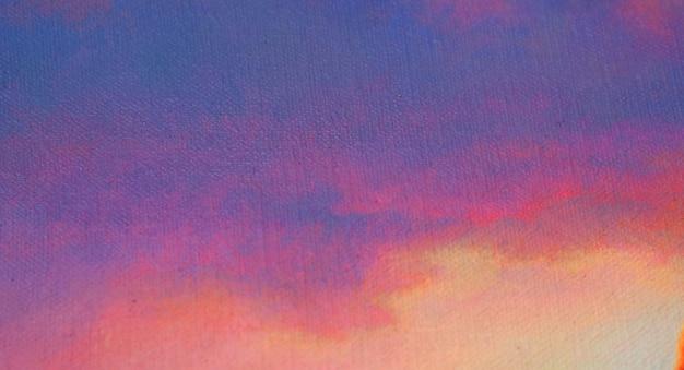 Malen des abstrakten hintergrundes mit strukturiertem weichem himmel nach sonnenuntergang