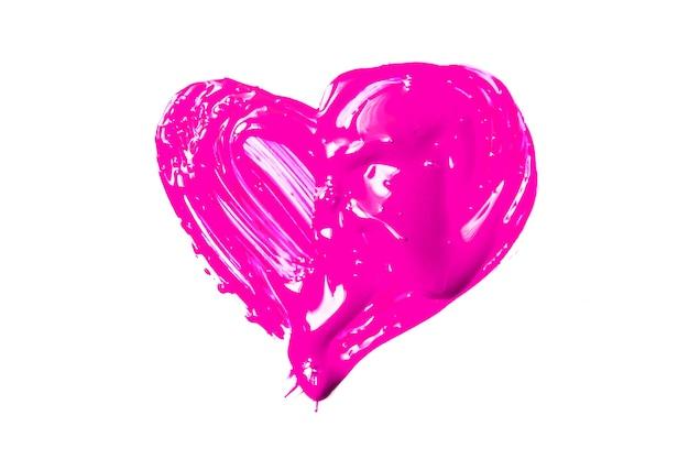 Malerei von rosa herzen isoliert auf weißem hintergrund