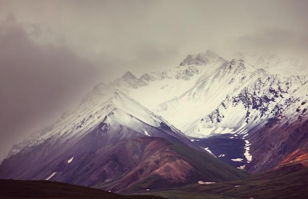 Malerische berge von alaska im sommer. schneebedeckte massive, gletscher und felsige gipfel.