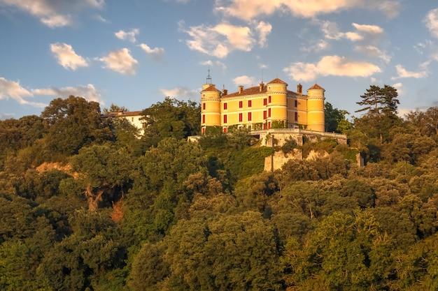 Malerische landschaft in der region valensole provence frankreich mit dem schloss auf dem hügel