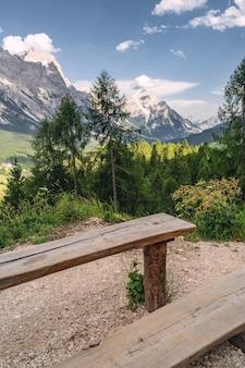 Malerische landschaft mit grünem wald, holztisch und bank