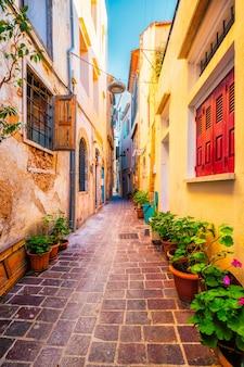 Malerische malerische straßen der venezianischen stadt chania creete griechenland in chania