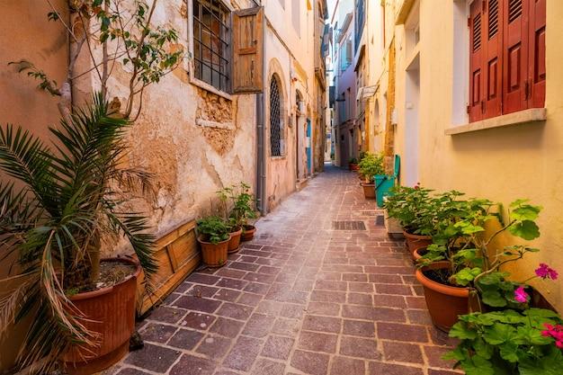 Malerische malerische straßen von chania venezianische stadt chania kreta griechenland
