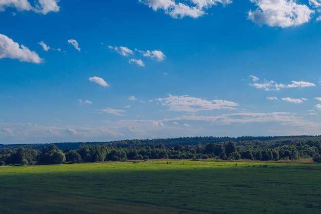 Malerische sommerlandschaft mit weißen, flauschigen sommerwolken auf blauem, herrlichem himmelshintergrund. grüne wiese stockfotografie.
