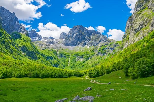 Malerische wiesen und wälder liegen inmitten der hohen berge.