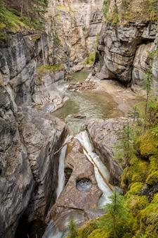 Maligne canyon falls, wunderschöne schlucht, viele farben. jasper-nationalpark