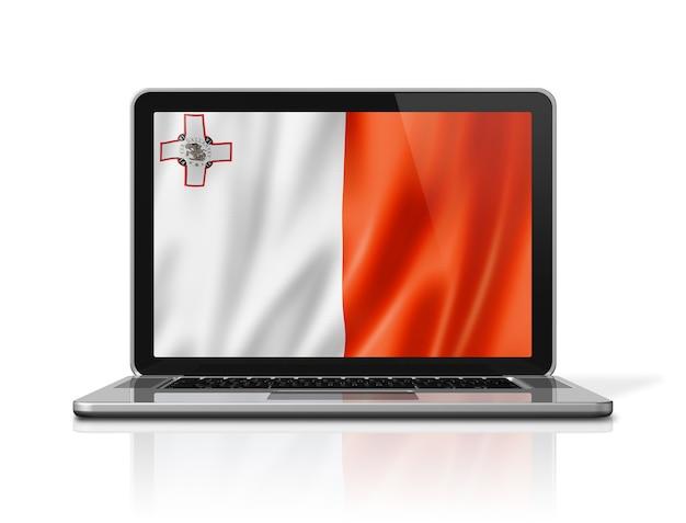 Malta-flagge auf laptop-bildschirm isoliert auf weiss. 3d-darstellung rendern.