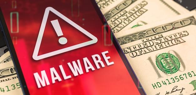 Malware-bildschirm auf mobiltelefon, nahaufnahme, firewall und computer-datenschutzkonzeptfoto