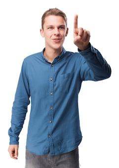 Man berührt die luft mit einem finger