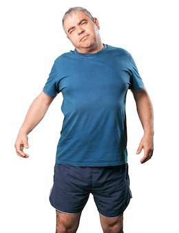Man tut gebärmutterhalskrebs stretching