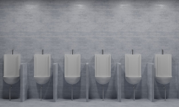 Man urinale sind lange sichtreihen, die dem auge gefallen3d-rendering