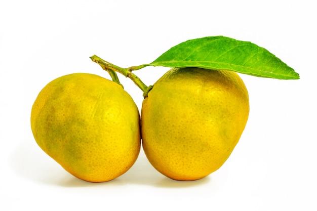 Mandarine mit grünem blatt lokalisiert auf weißem hintergrund