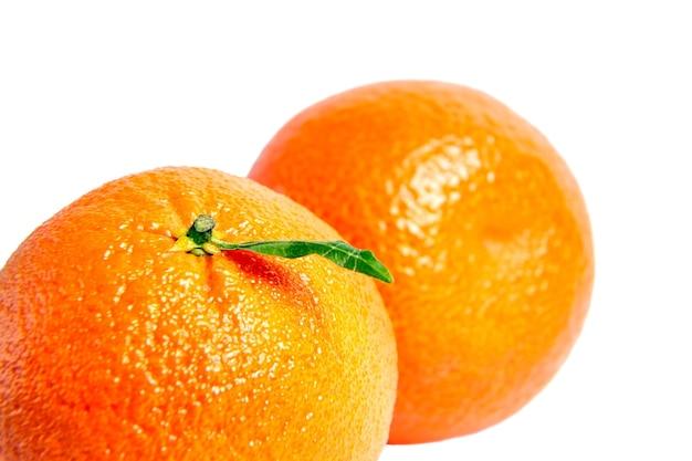 Mandarinen-zitrusfrucht isoliert auf weiß