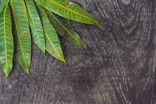 Mangoblätter auf einem alten hölzernen hintergrund