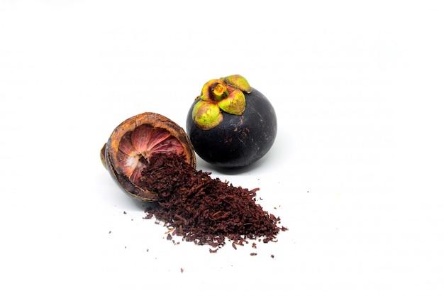 Mangostan-schale mit mangostan-pulver