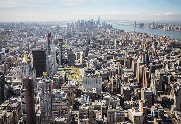 Manhattan-panorama bei new york city