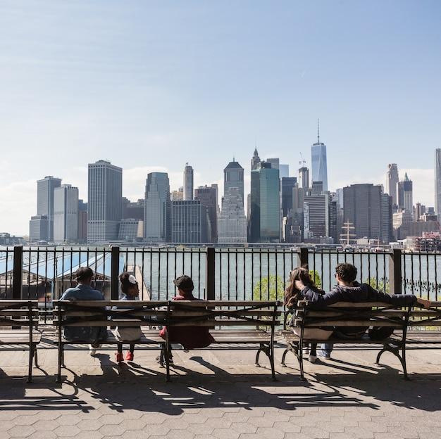 Manhattan skyline von der brooklyn heights promenade