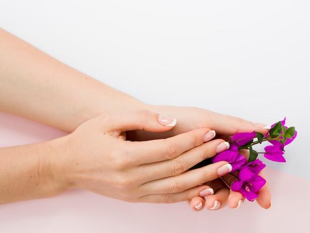 Manikürte frauenhände, die bunte blumen halten
