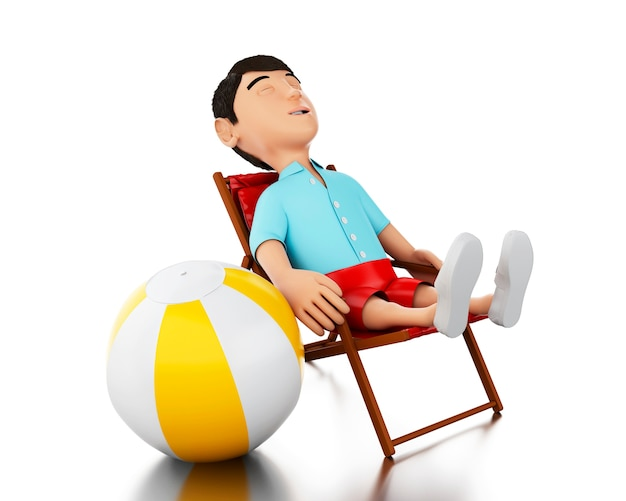 Mann 3d entspannte sich auf einem strandstuhl mit einem wasserball.