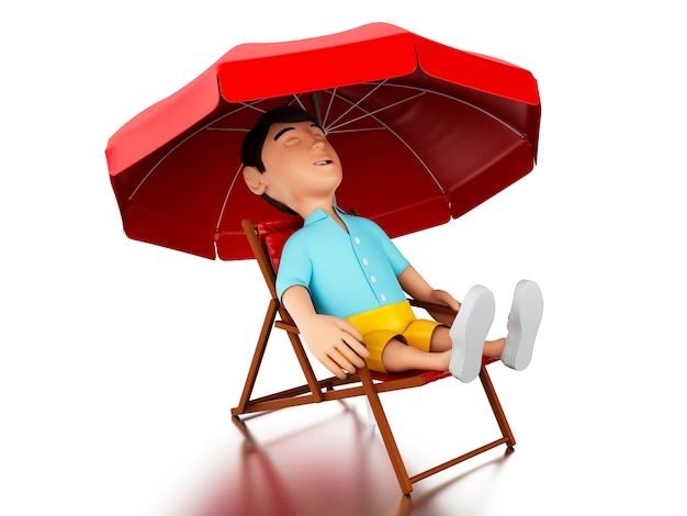 Mann 3d entspannte sich auf einem strandstuhl.