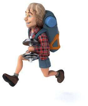 Mann allein reisender rucksacktourist 3d illustration