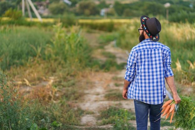 Mann, bauer, arbeiter, der in den händen heimische ernte von frischen orangefarbenen karotten hält. privatgarten, naturwirtschaft, hobby- und freizeitkonzept