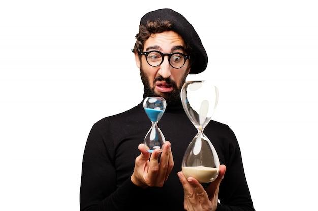 Mann bei der zwei hourglasses suchen