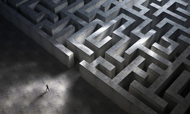 Mann betritt ein riesiges mysteriöses labyrinth. geschäfts- und lebenskonzept. 3d-rendering