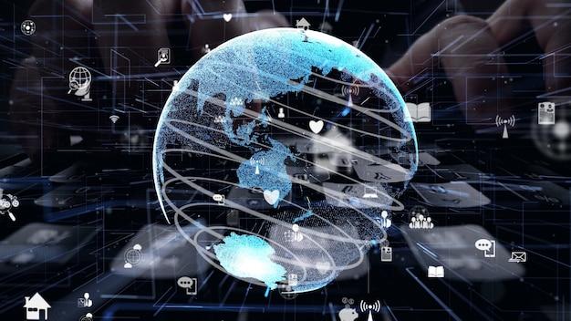 Mann, der an computertastatur mit grafik der internet-netzwerkmodernisierung arbeitet