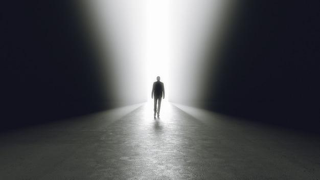 Mann, der aus der dunkelheit herauskommt, die tür oder durchgang öffnet. 3d-rendering.