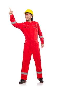 Mann, der den roten overall lokalisiert auf weiß trägt