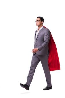 Mann, der die rote abdeckung getrennt trägt