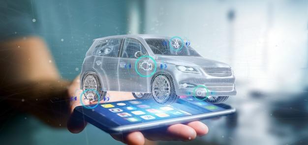Mann, der ein smartcar mit der wiedergabe der überprüfungen 3d hält