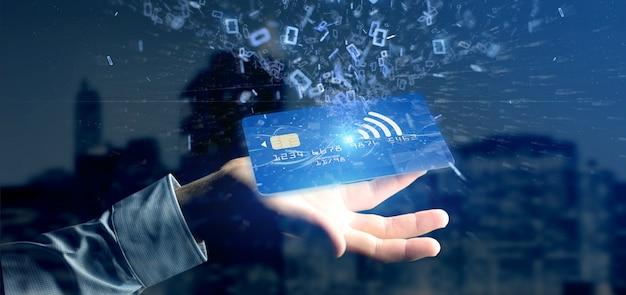 Mann, der eine kontaktlose wiedergabe des kreditkartezahlungs-konzeptes 3d hält