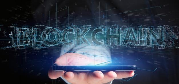 Mann, der einen blockchain titel getrennt anhält