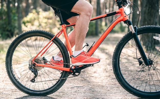 Mann, der fahrrad entlang weg durch sonnigen wald reitet